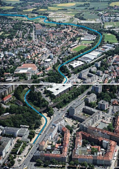 Bayreuth - Stadt am Fluss - Der Rote Main aus der Luft