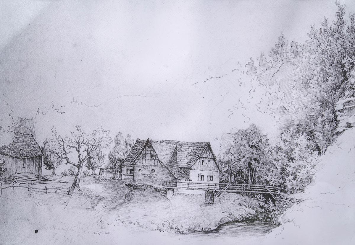 Bodenmühle Bleistiftzeichnung
