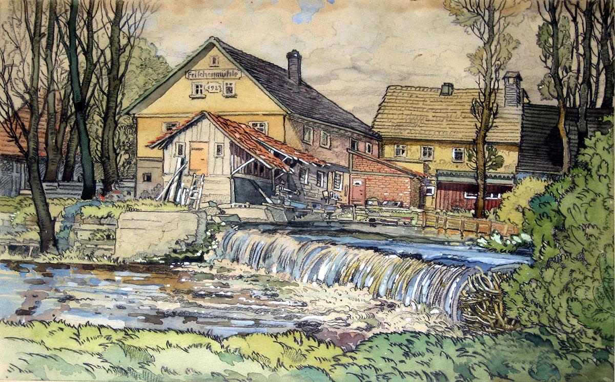 Die Frischenmühle auf einem Gemälde aus dem Jahr 1923