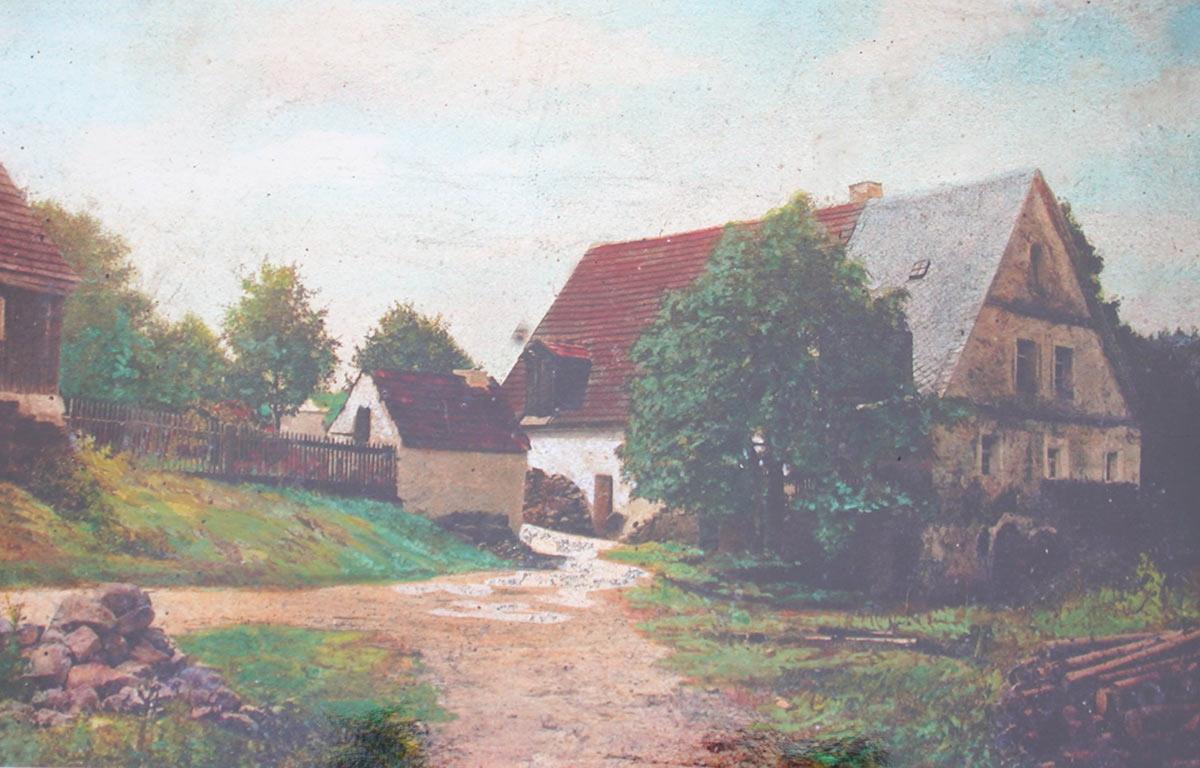 Coloriertes Schwarzweis-Bild der Sägmühle